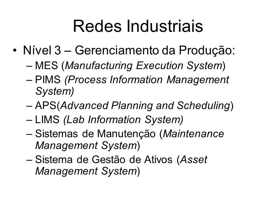 Redes Industriais Nível 3 – Gerenciamento da Produção: