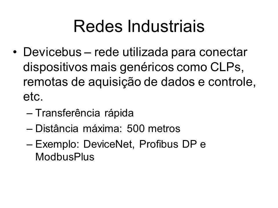 Redes IndustriaisDevicebus – rede utilizada para conectar dispositivos mais genéricos como CLPs, remotas de aquisição de dados e controle, etc.