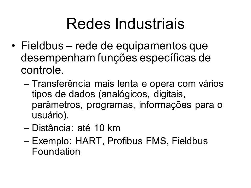 Redes Industriais Fieldbus – rede de equipamentos que desempenham funções específicas de controle.