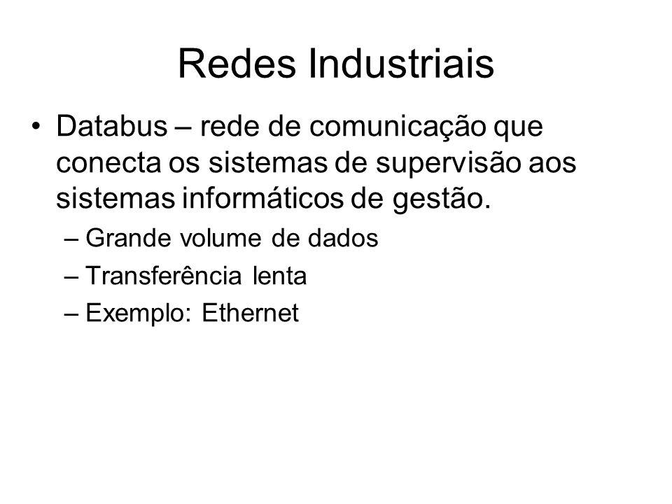 Redes Industriais Databus – rede de comunicação que conecta os sistemas de supervisão aos sistemas informáticos de gestão.