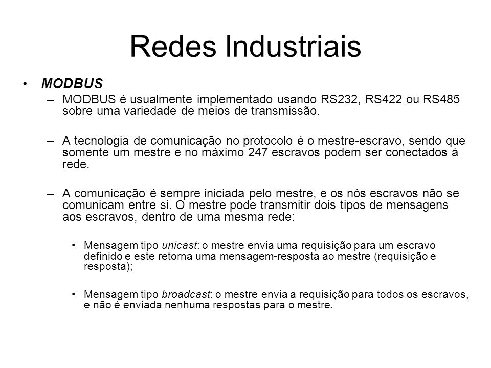 Redes Industriais MODBUS