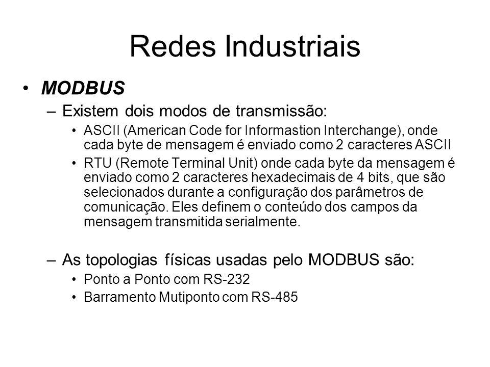 Redes Industriais MODBUS Existem dois modos de transmissão: