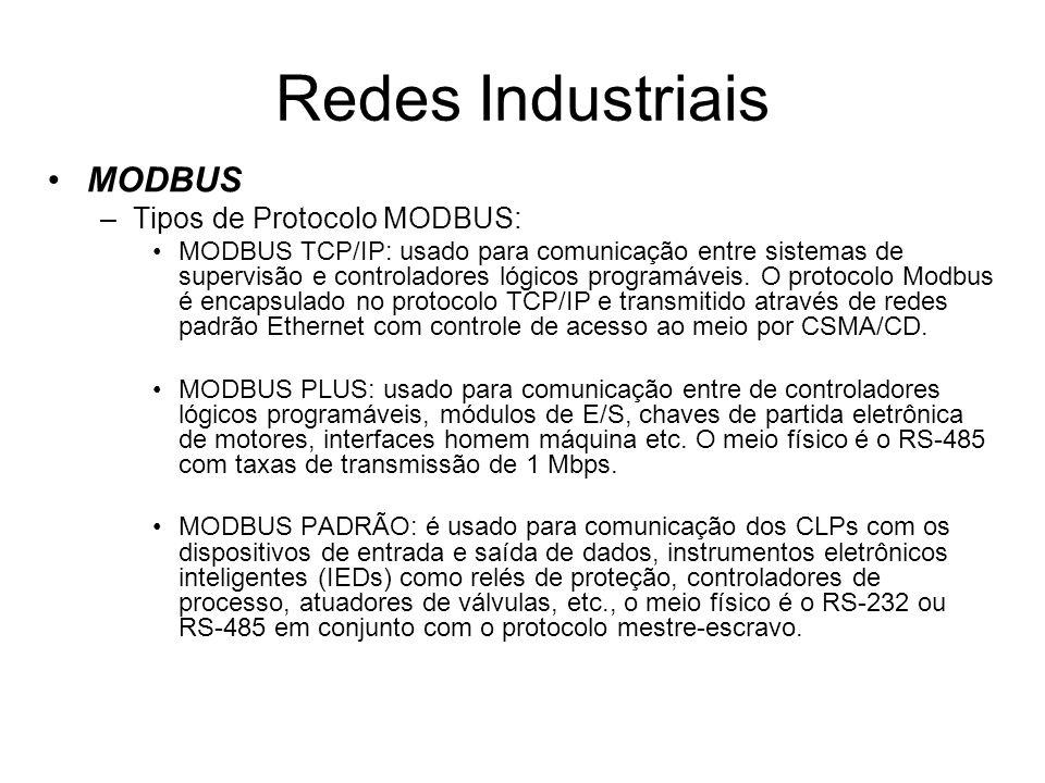 Redes Industriais MODBUS Tipos de Protocolo MODBUS: