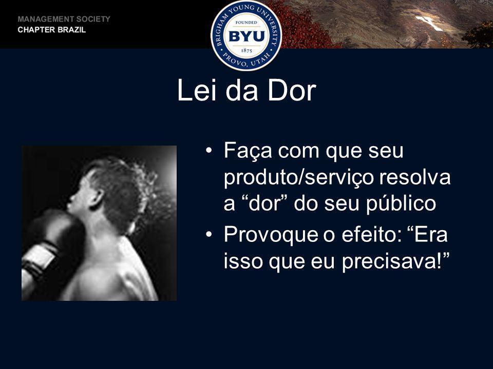 Lei da Dor Faça com que seu produto/serviço resolva a dor do seu público.