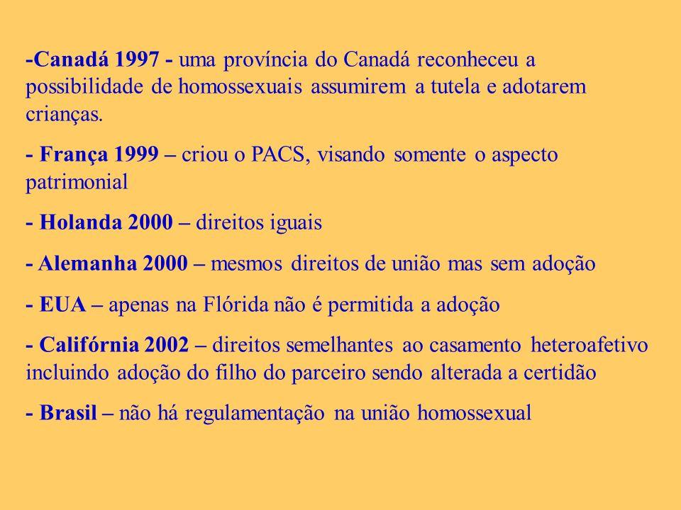 -Canadá 1997 - uma província do Canadá reconheceu a possibilidade de homossexuais assumirem a tutela e adotarem crianças.
