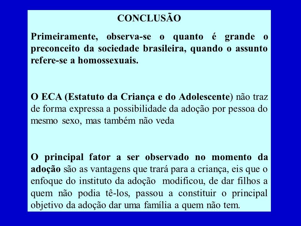 CONCLUSÃO Primeiramente, observa-se o quanto é grande o preconceito da sociedade brasileira, quando o assunto refere-se a homossexuais.