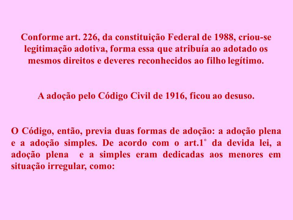 A adoção pelo Código Civil de 1916, ficou ao desuso.