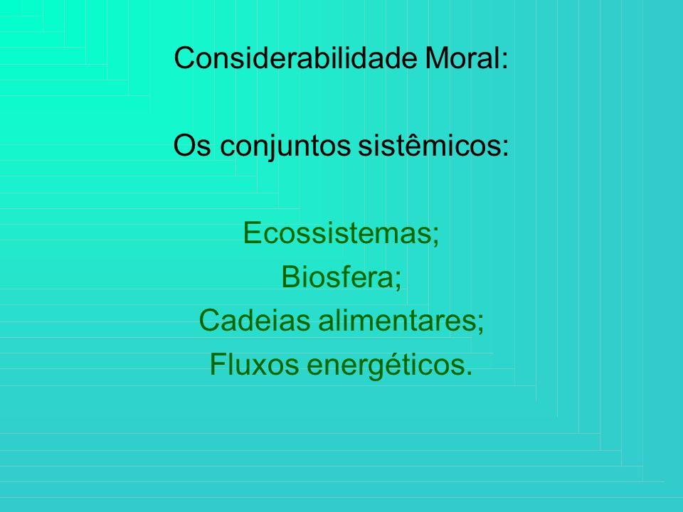 Considerabilidade Moral: Os conjuntos sistêmicos: Ecossistemas;