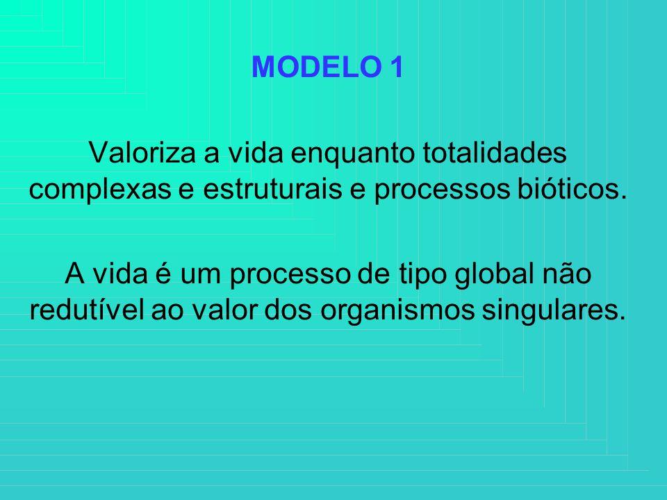 MODELO 1 Valoriza a vida enquanto totalidades complexas e estruturais e processos bióticos.