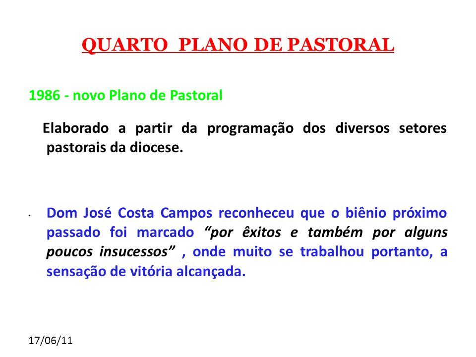 QUARTO PLANO DE PASTORAL