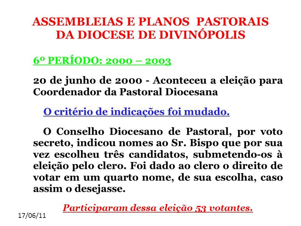 ASSEMBLEIAS E PLANOS PASTORAIS DA DIOCESE DE DIVINÓPOLIS