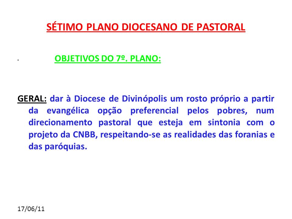 SÉTIMO PLANO DIOCESANO DE PASTORAL