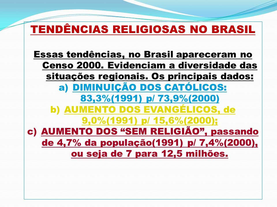 TENDÊNCIAS RELIGIOSAS NO BRASIL