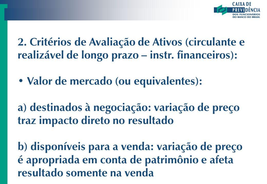 2. Critérios de Avaliação de Ativos (circulante e realizável de longo prazo – instr. financeiros):