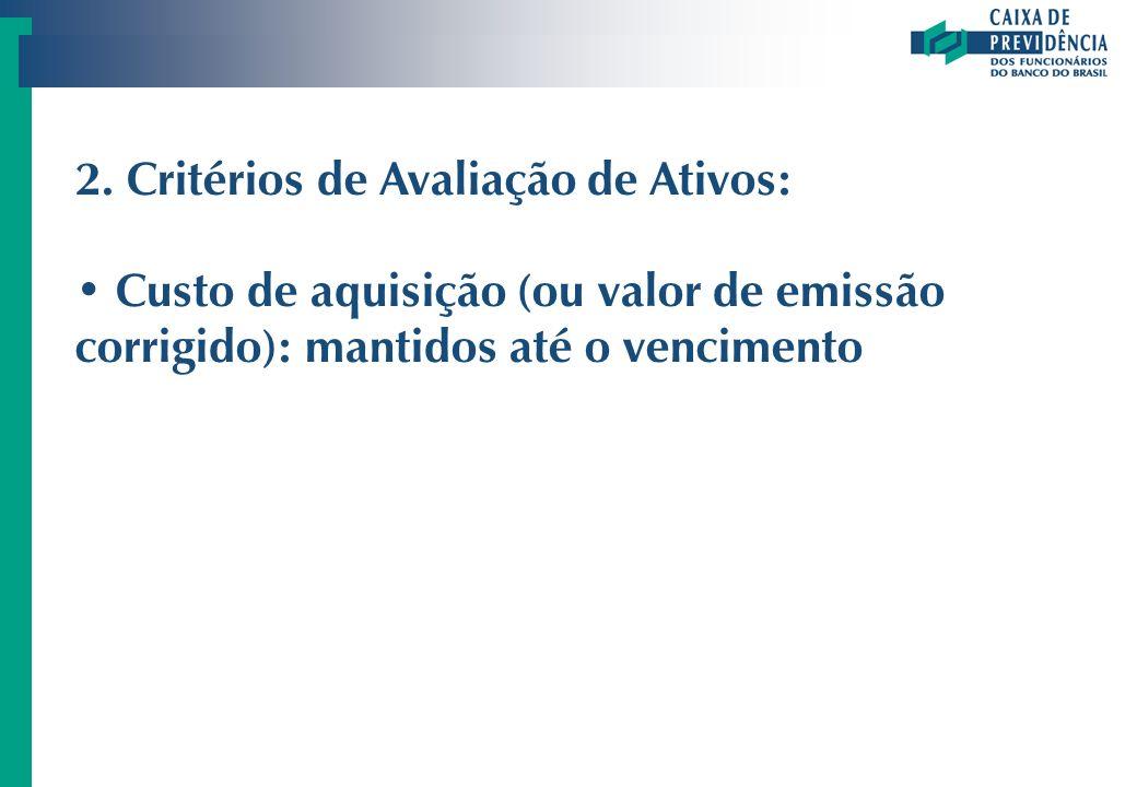 2. Critérios de Avaliação de Ativos: