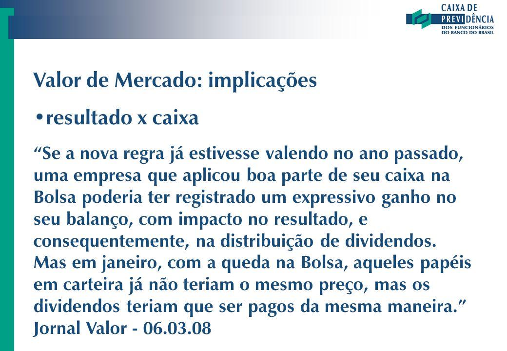 Valor de Mercado: implicações resultado x caixa