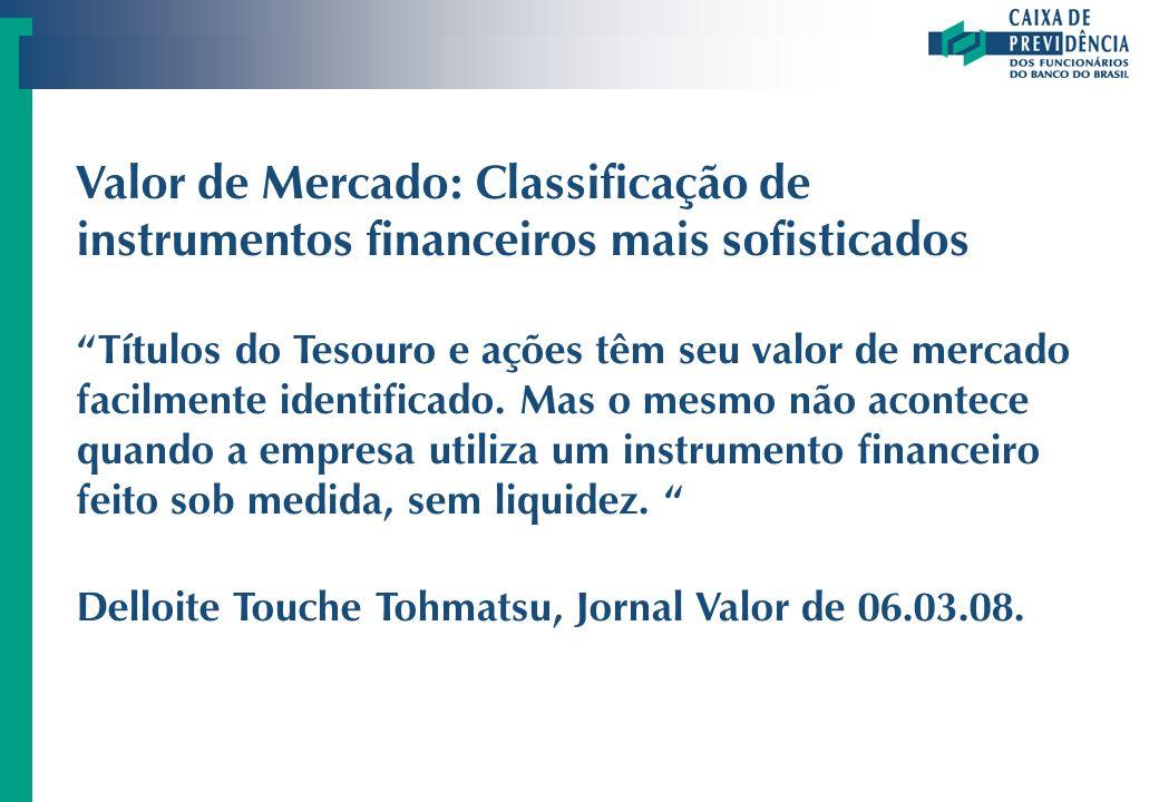 Valor de Mercado: Classificação de instrumentos financeiros mais sofisticados