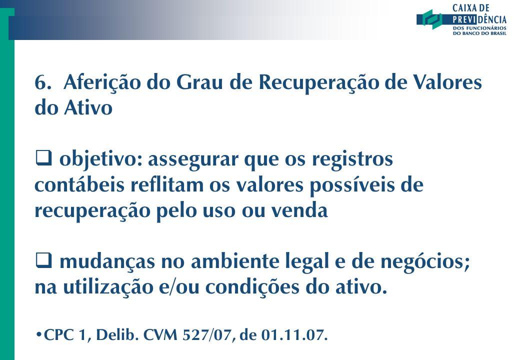 6. Aferição do Grau de Recuperação de Valores do Ativo