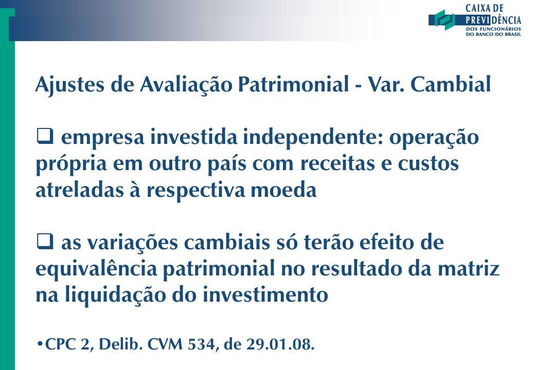 Ajustes de Avaliação Patrimonial - Var. Cambial
