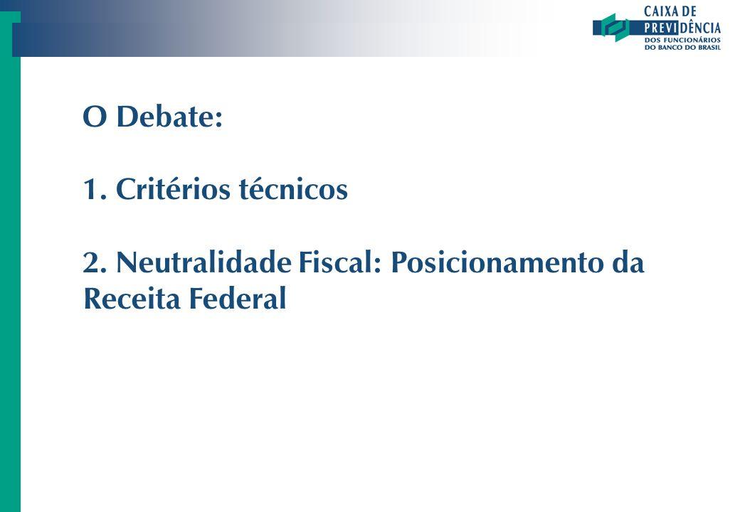 O Debate: Critérios técnicos Neutralidade Fiscal: Posicionamento da Receita Federal