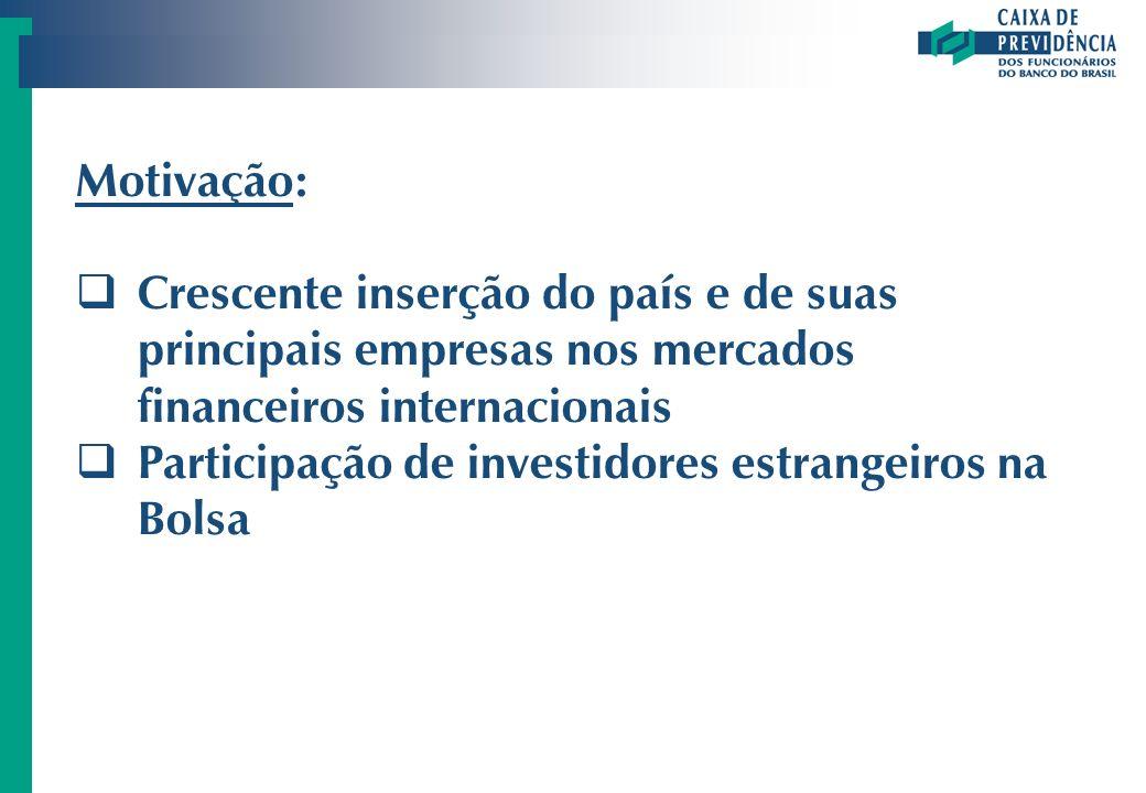 Motivação: Crescente inserção do país e de suas principais empresas nos mercados financeiros internacionais.