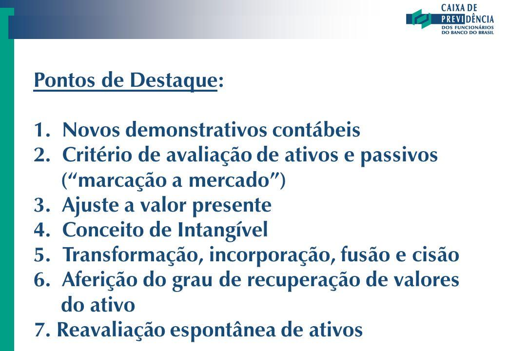 Pontos de Destaque: 1. Novos demonstrativos contábeis. 2. Critério de avaliação de ativos e passivos ( marcação a mercado )