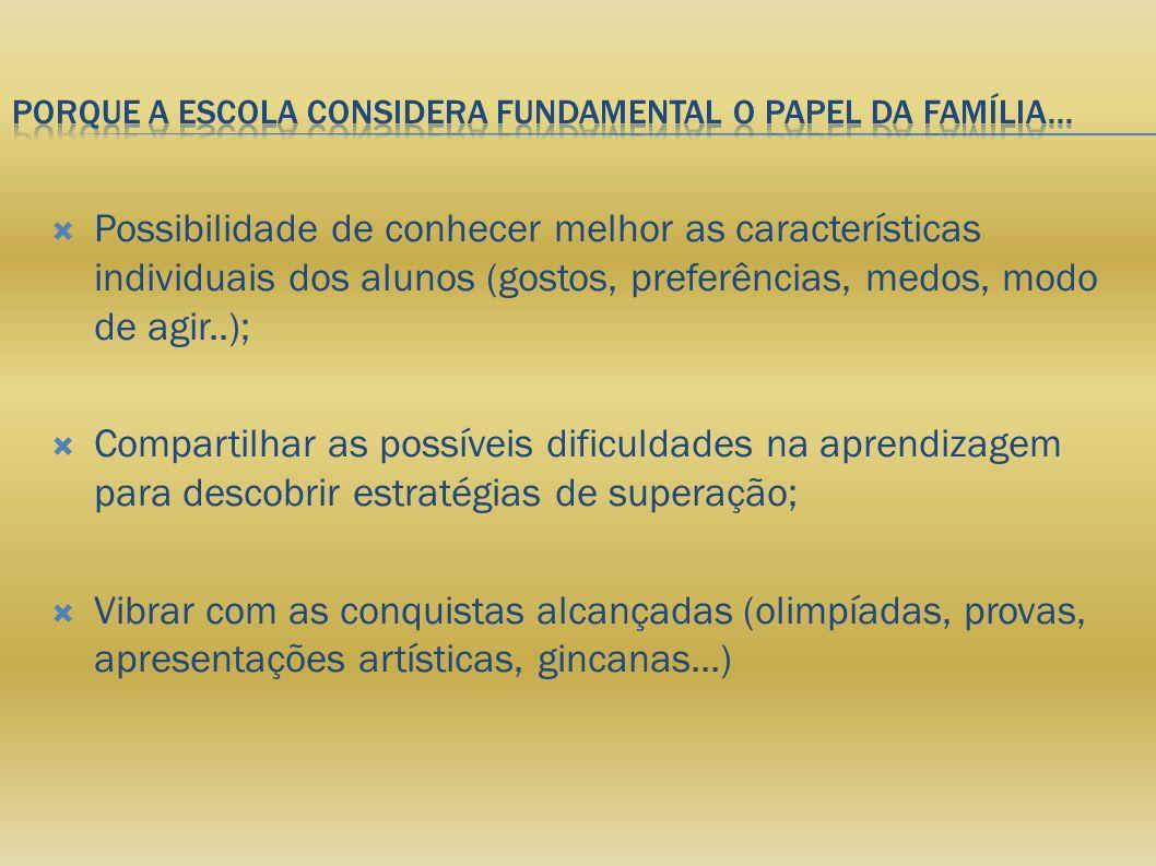 Porque a escola considera fundamental o papel da família...