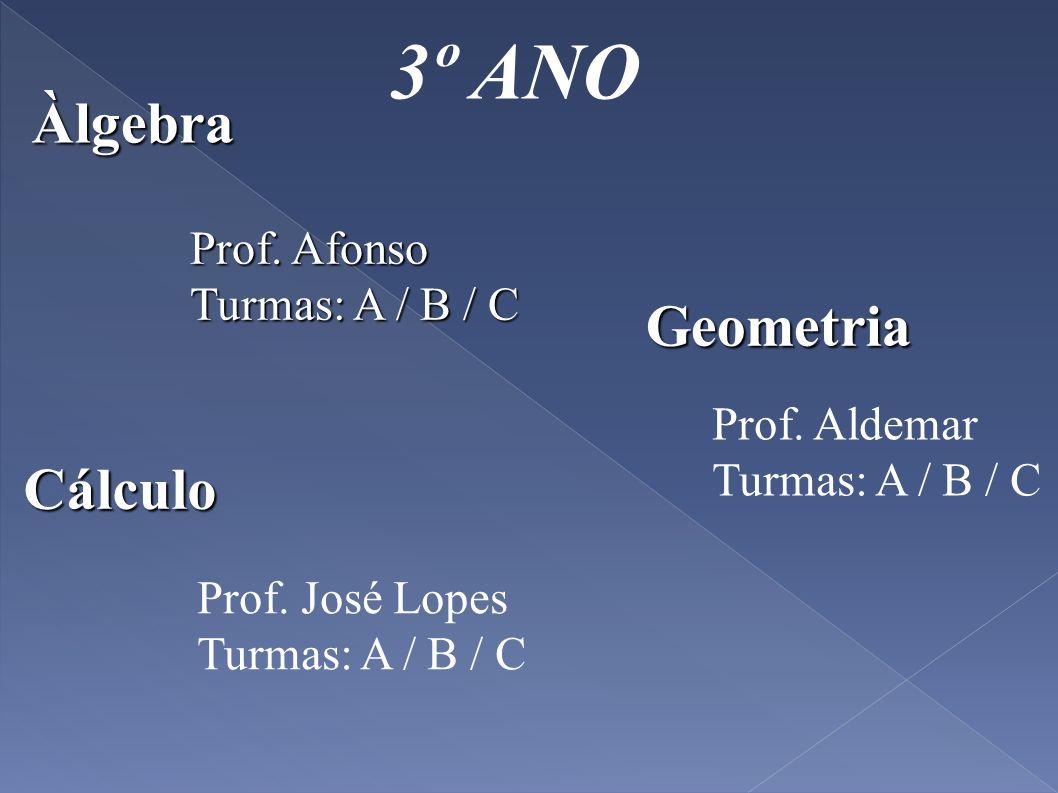 3º ANO Àlgebra Geometria Cálculo Prof. Afonso Turmas: A / B / C