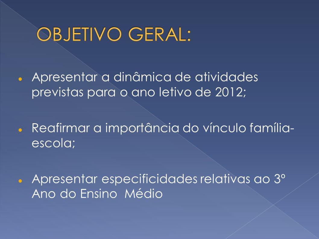 OBJETIVO GERAL:Apresentar a dinâmica de atividades previstas para o ano letivo de 2012; Reafirmar a importância do vínculo família-escola;