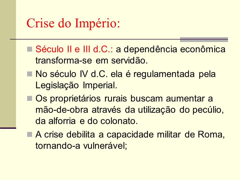 Crise do Império:Século II e III d.C.: a dependência econômica transforma-se em servidão.