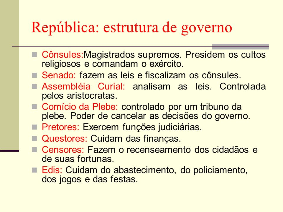 República: estrutura de governo