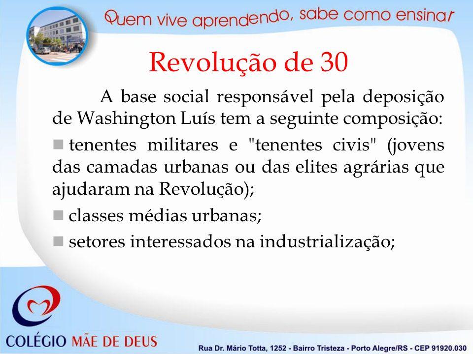 Revolução de 30 A base social responsável pela deposição de Washington Luís tem a seguinte composição: