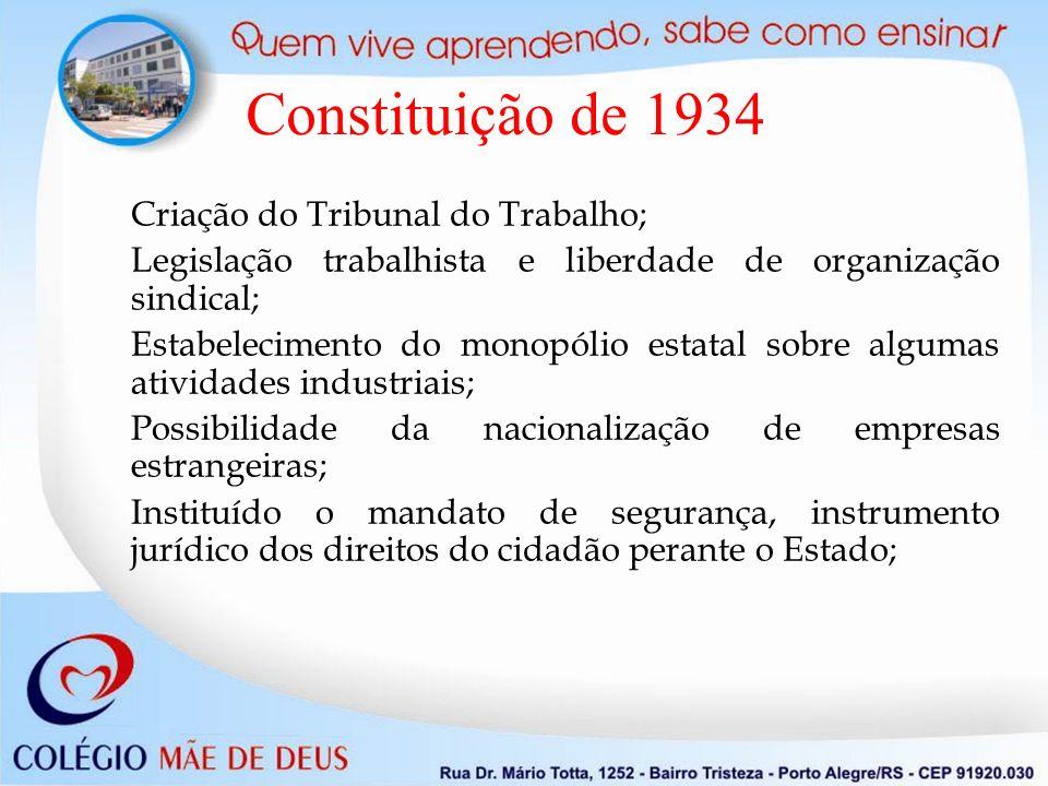 Constituição de 1934 Criação do Tribunal do Trabalho;