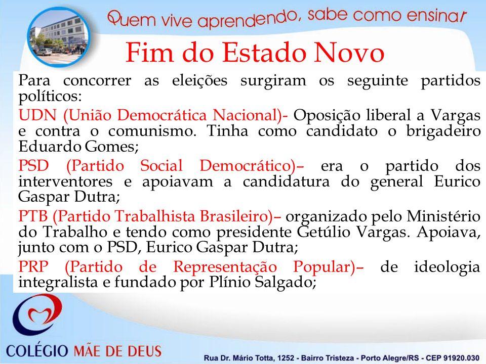 Fim do Estado Novo Para concorrer as eleições surgiram os seguinte partidos políticos: