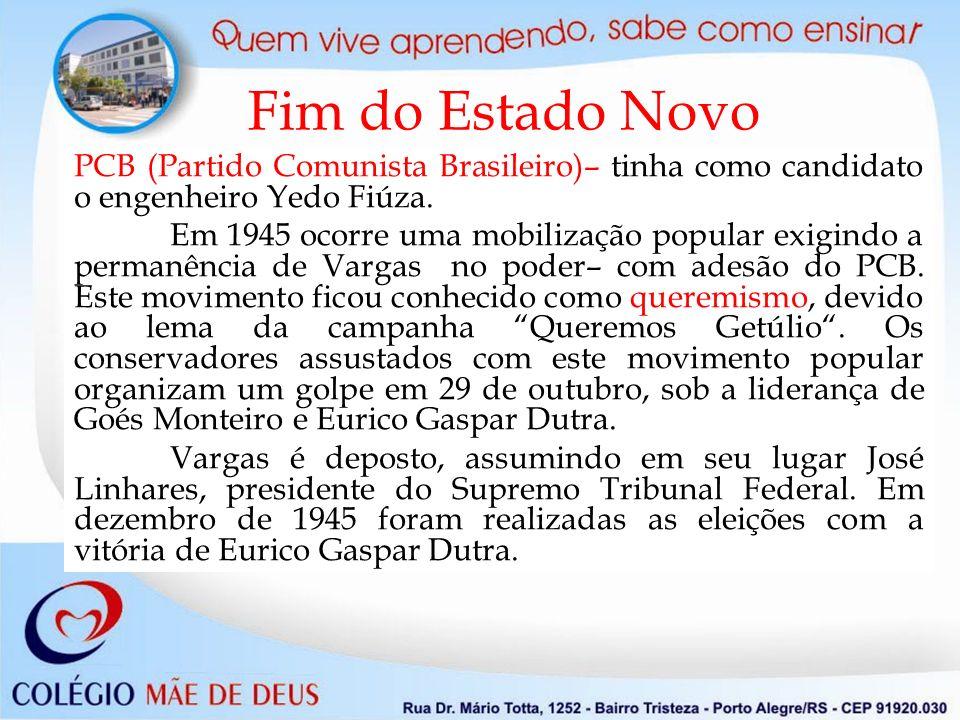 Fim do Estado Novo PCB (Partido Comunista Brasileiro)– tinha como candidato o engenheiro Yedo Fiúza.