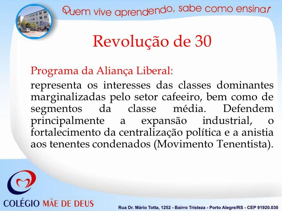 Revolução de 30 Programa da Aliança Liberal: