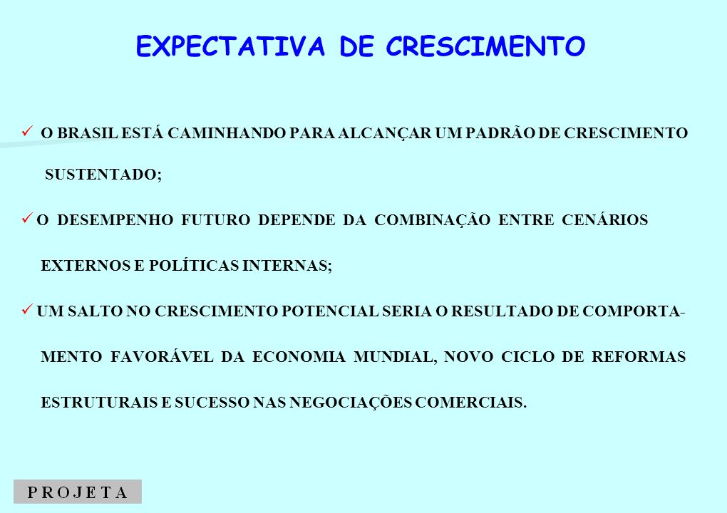 EXPECTATIVA DE CRESCIMENTO DO PIB