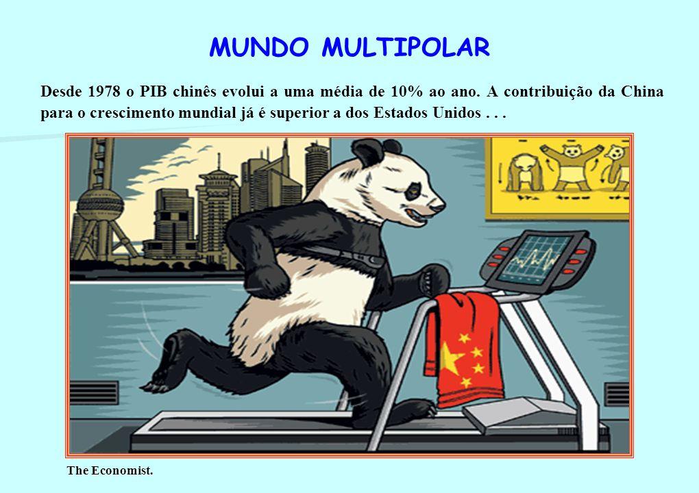 MUNDO MULTIPOLAR A mudança estrutural tem sido o peso crescente das economias emergentes, em particular a China, no crescimento mundial . . .