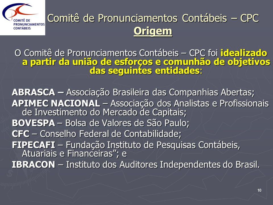 Comitê de Pronunciamentos Contábeis – CPC Origem