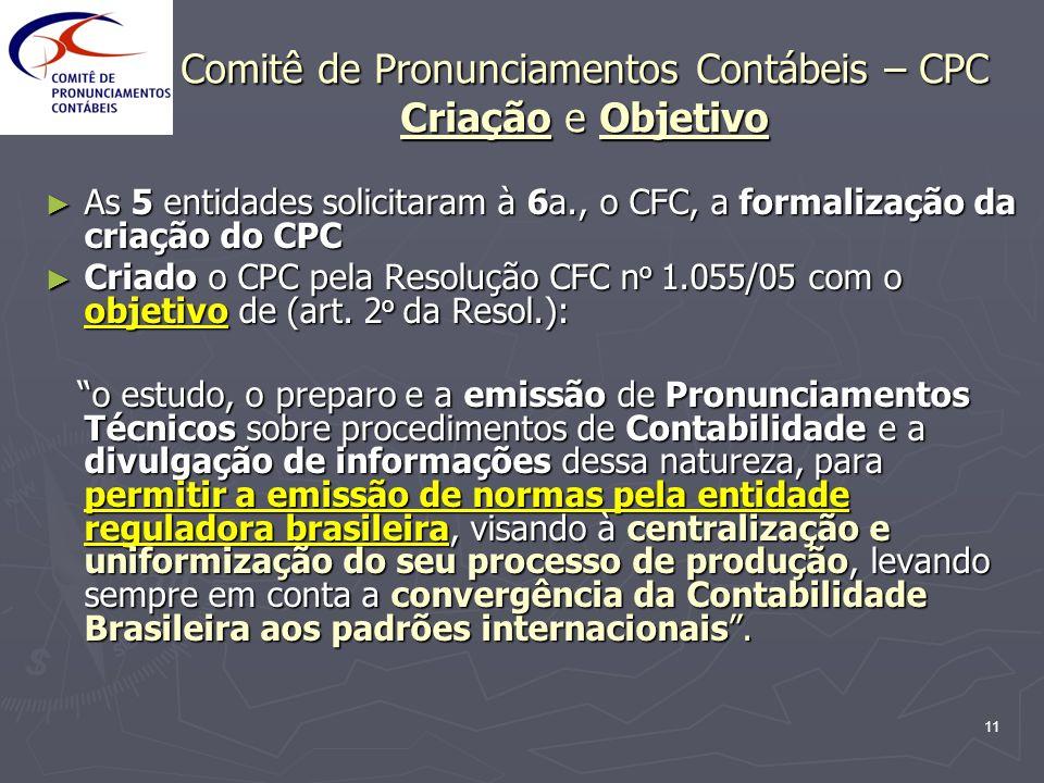 Comitê de Pronunciamentos Contábeis – CPC Criação e Objetivo