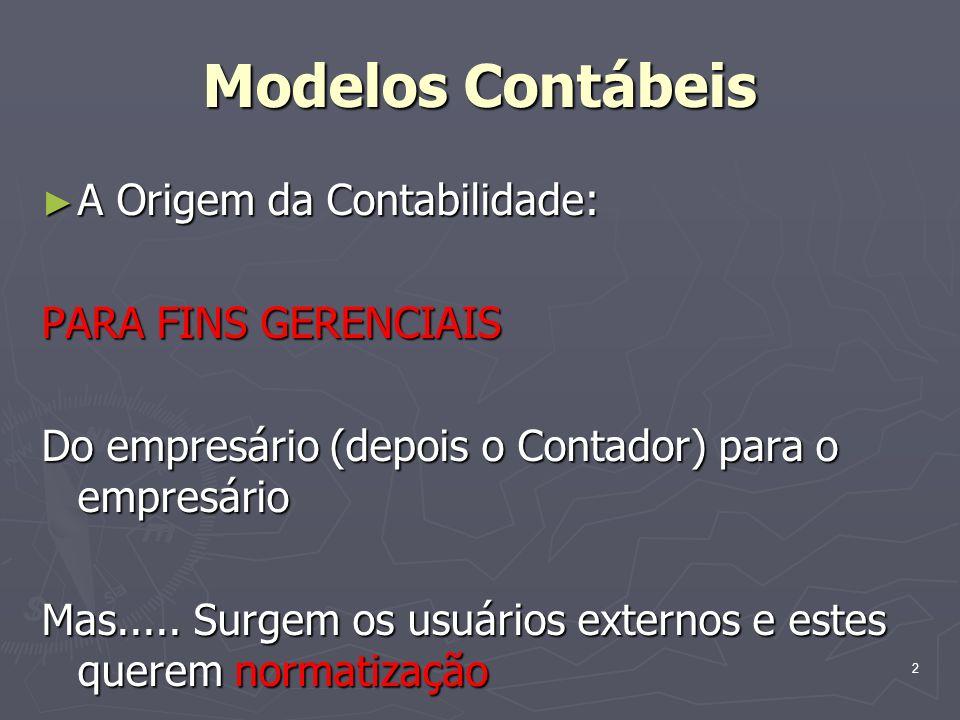 Modelos Contábeis A Origem da Contabilidade: PARA FINS GERENCIAIS