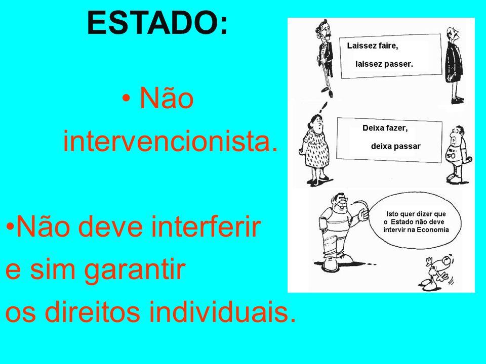 ESTADO: • Não intervencionista. •Não deve interferir e sim garantir