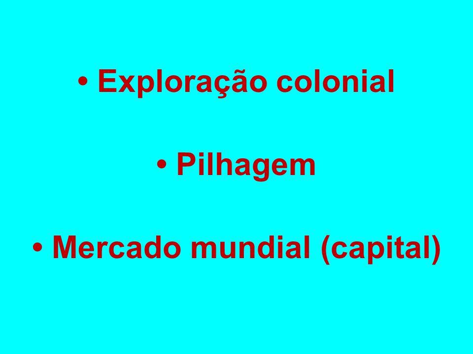 • Exploração colonial • Pilhagem • Mercado mundial (capital)