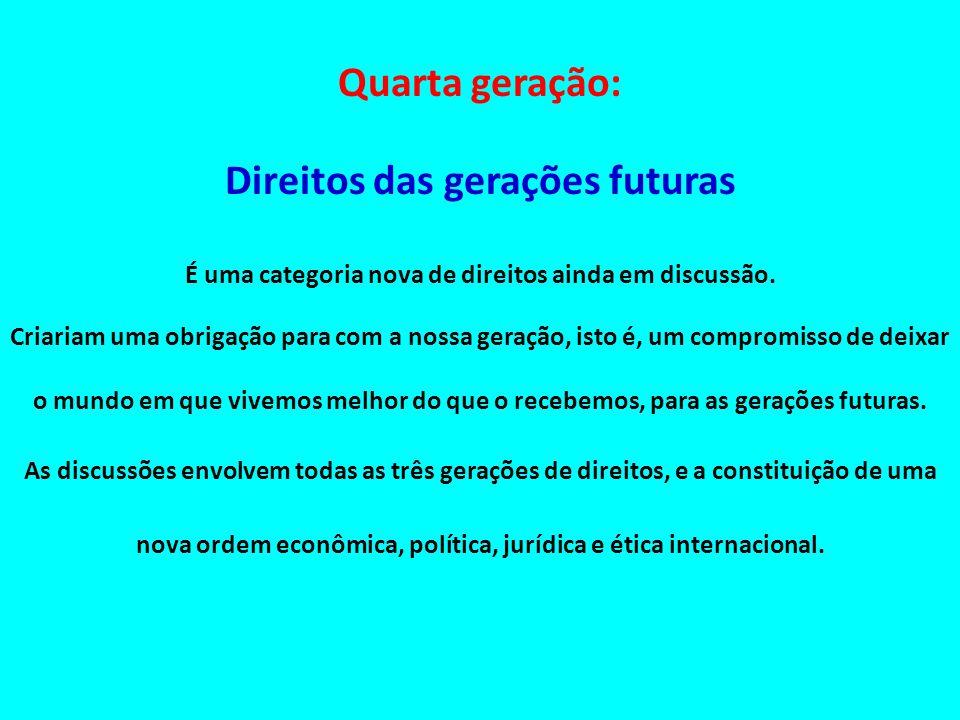 Quarta geração: Direitos das gerações futuras