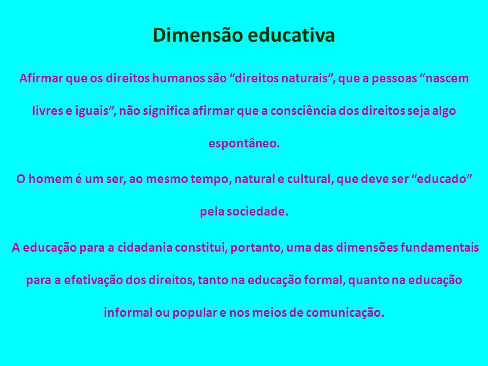 Dimensão educativa