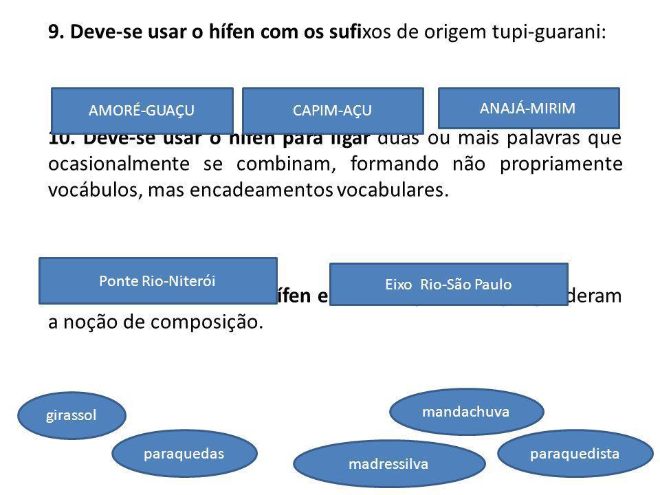 9. Deve-se usar o hífen com os sufixos de origem tupi-guarani: