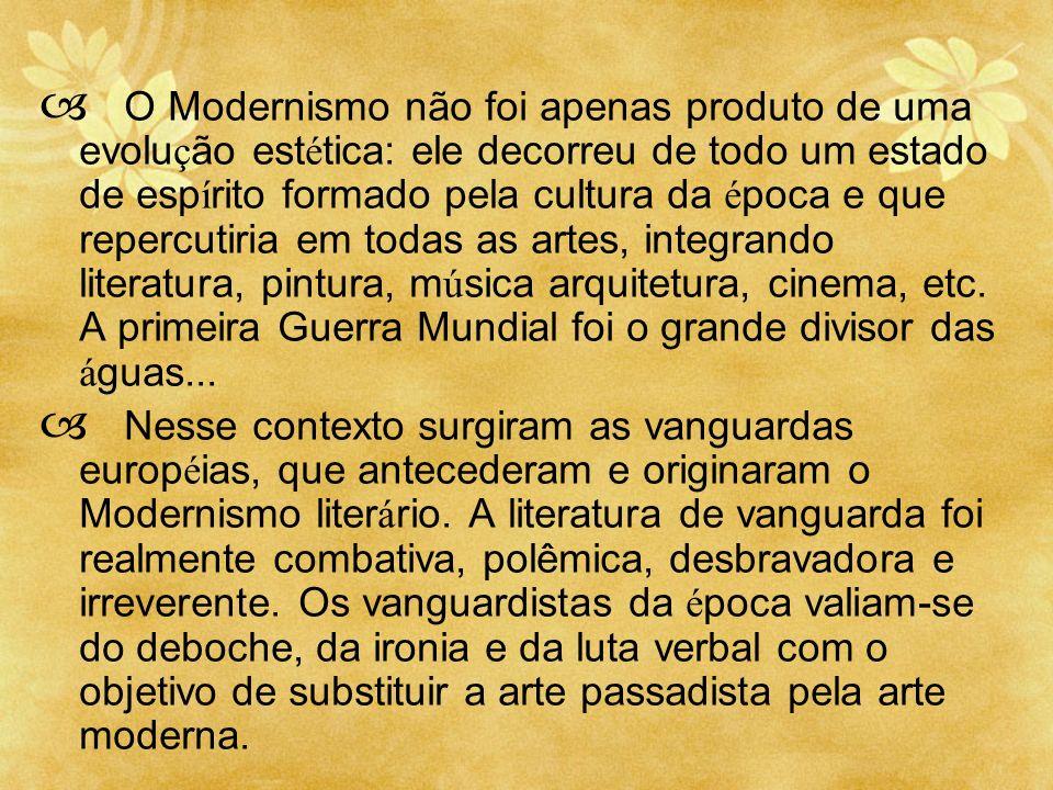 O Modernismo não foi apenas produto de uma evolução estética: ele decorreu de todo um estado de espírito formado pela cultura da época e que repercutiria em todas as artes, integrando literatura, pintura, música arquitetura, cinema, etc. A primeira Guerra Mundial foi o grande divisor das águas...