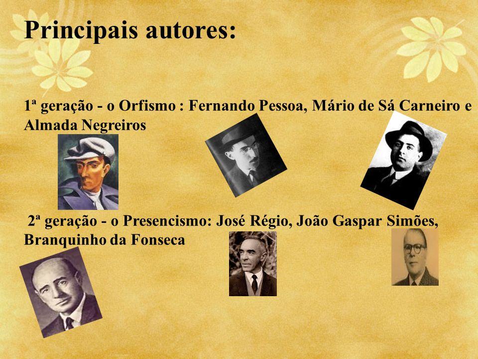 Principais autores: 1ª geração - o Orfismo : Fernando Pessoa, Mário de Sá Carneiro e Almada Negreiros.