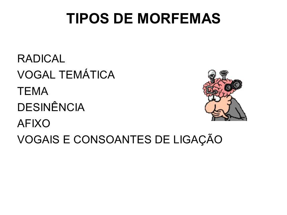 TIPOS DE MORFEMAS RADICAL VOGAL TEMÁTICA TEMA DESINÊNCIA AFIXO