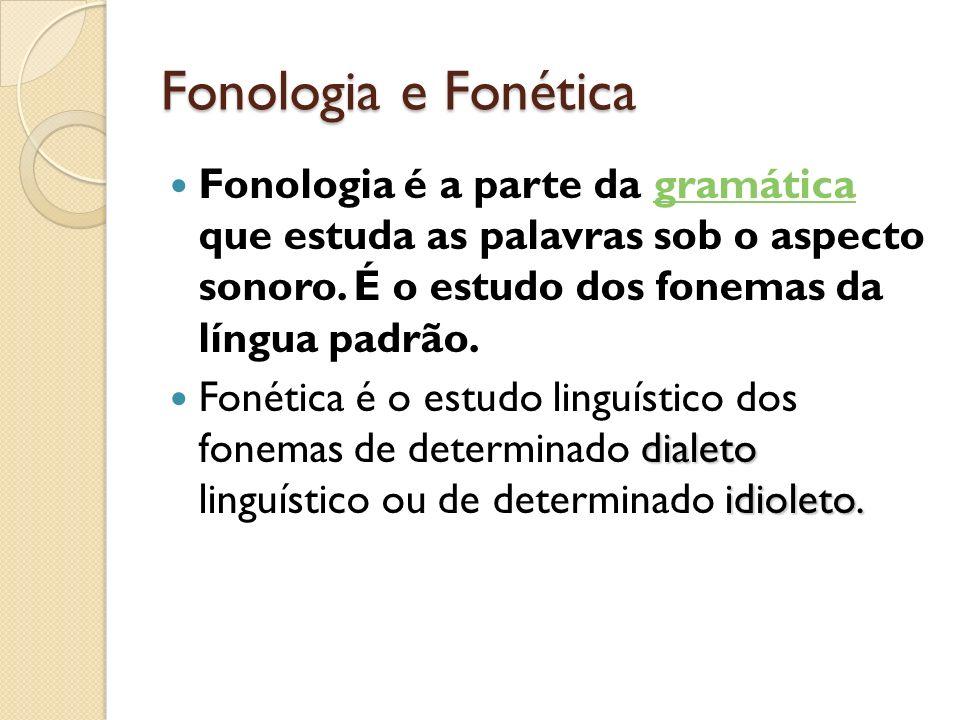 Fonologia e FonéticaFonologia é a parte da gramática que estuda as palavras sob o aspecto sonoro. É o estudo dos fonemas da língua padrão.
